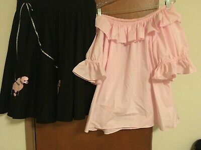 $60 • Buy Plus Size Xxl Womens Square Dance Outfit 1950's Poodle Skirt With Matching Socks