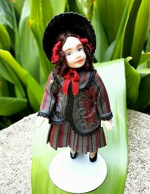 $ CDN12.48 • Buy 4  Porcelain Doll On White KAISER Doll Stand Dressed In Victorian Period Clothes