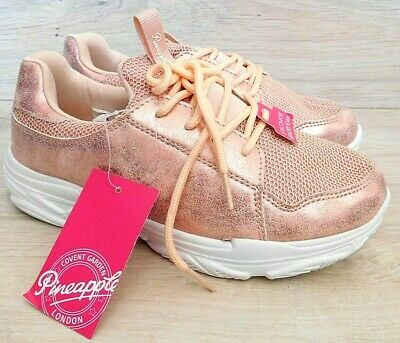 £12 • Buy PINEAPPLE UK 2 Girls Metallic Shiny Pink Trainers Sneakers Lightweight Lace Up B