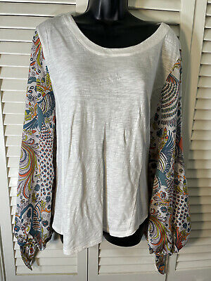 $ CDN14.98 • Buy By Anthropologie Blouse Xl White With Peacock On The Sleeves