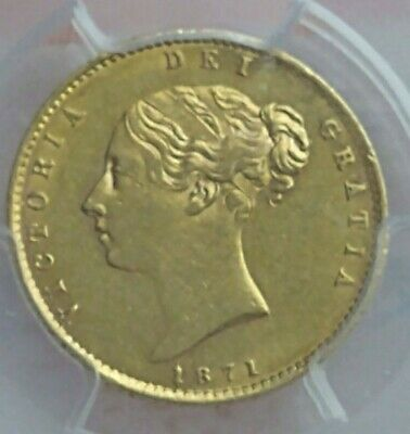 £370 • Buy 1871 1/2 Sovereign Gold Coin Queen Victoria Reverse Shield AU53 In Slab