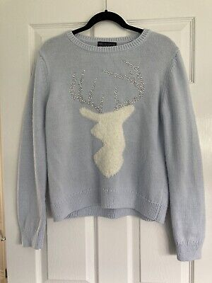 £7.99 • Buy Marks And Spencer Christmas Jumper Blue With Reindeer Size M