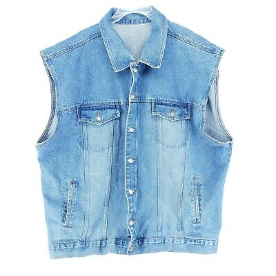 $28 • Buy Faded Glory Denim Vest Mens Size 3X Collared