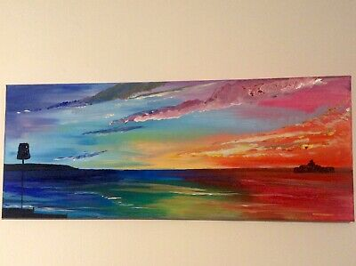 £29 • Buy Herne Bay Sea Scape Painting Acrylic On Canvas 8x20 Inches