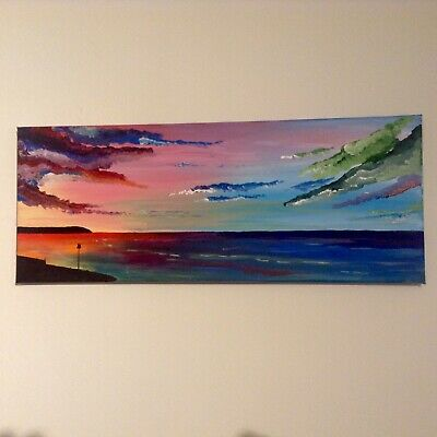 £29 • Buy Herne Bay Sea Scape Painting 20x8 Inch Acrylic On Canvas