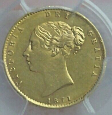 £440 • Buy 1871 Queen Victoria Sovereign Gold Coin Reverse Shield In PCGS Slab AU53