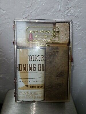 $14.99 • Buy Buck Knife Sharpening Kit With Two Stones And Honing Oil Mint Condition