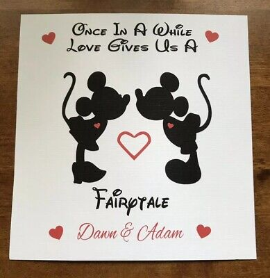 £3.50 • Buy Handmade Personalised Mickey Minnie Mouse Wedding  Engagement  Anniversary Card