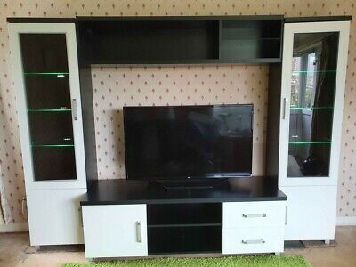 £150 • Buy Tv Unit Stand Display Cabinet Lounge Furniture Black & White Sideboard Cupboard