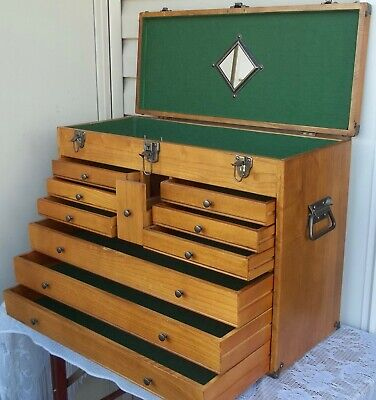 $129.99 • Buy Vintage Oak Wood Machinist Tool Chest / Jewelry Box ~ 10 Drawers & Lift Up Lid