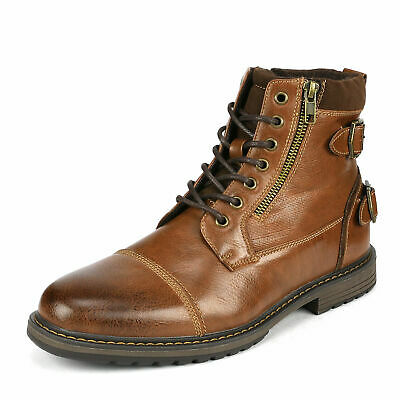 $33.24 • Buy Men's Combat Motorcycle Boots Oxford Dress Boot Lace Up Shoes Size 6.5-13 Brown