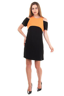 £0.99 • Buy RRP €105 ARMANI EXCHANGE Crepe A-Line Dress Size US 4 / S Two-Tone Made In Italy