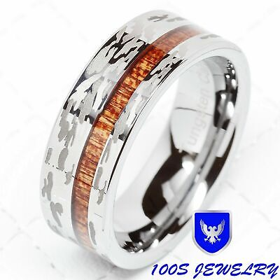 $37 • Buy Mens Tungsten Ring Camo Army Hunting Wood Inlay Silver Wedding Band Comfort Fit
