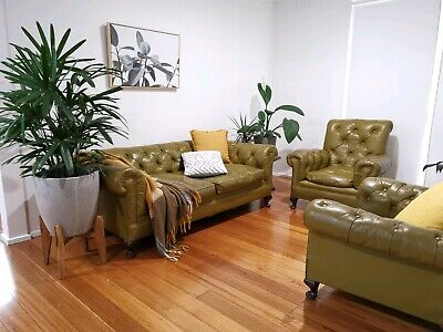 AU1450 • Buy Mid Century Olive Green Leather Couch & 2 Armchairs