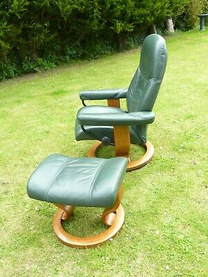 £425 • Buy Stressless Ekornes Green Leather Chair~reclines,swivel & Tilts With Footstool