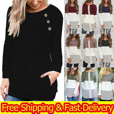 £9.79 • Buy Womens Pullover Plus Size Sweater Jumper Ladies Casual Long Sleeve Tops Shirts