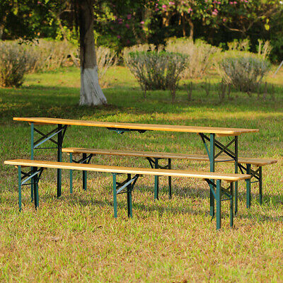£189.95 • Buy 8 Seater Set Catering Camping Folding Trestle Table Benches Set Picnic BBQ Party