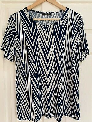 £9.99 • Buy Forever By Michael Gold Navy And Cream Chevron Top Large Uk 16