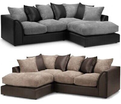 £399 • Buy Brand New Jumbo Cord L Shape Corner Sofa Settee Couch Black Grey Faux Leather