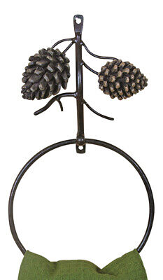 £19.55 • Buy Natures Bounty Country Pine Cones 6 Inch Metal Bath Kitchen Towel Ring