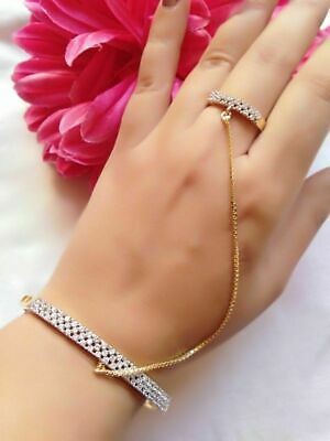 £16.69 • Buy Gold Tone Indian Bollywood Ethnic Theme Bracelet With Ring Chain Lady Party Wear