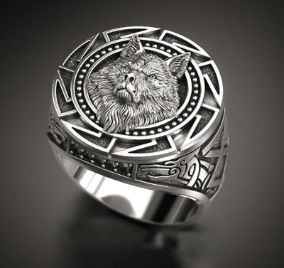 AU8.22 • Buy Vintage Style Solid Thai Silver High Quality Wolf Totem Men's Craft Ring AU
