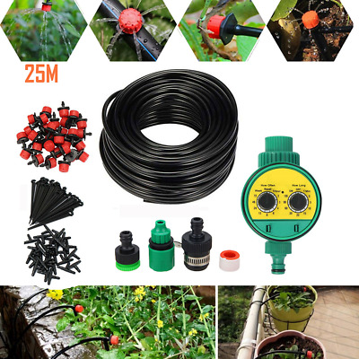 £12.99 • Buy 25M Automatic Drip Irrigation System Kit Plant +Timer Self Watering Garden Hose