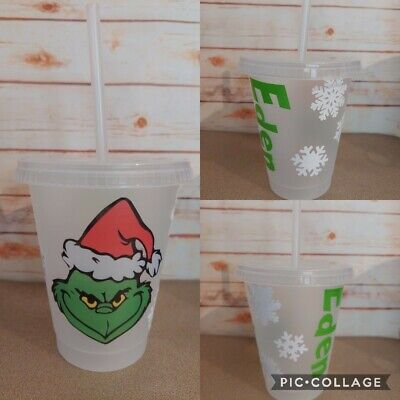 £11.99 • Buy Disney Grinch Cold Cup Straw Drink Tumbler Personalised Christmas Eve Box Gift