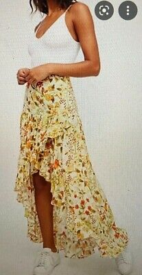 AU390.60 • Buy Spell And The Gypsy Collective Sayulita Frill Split Skirt, Sunflower, Size Mediu