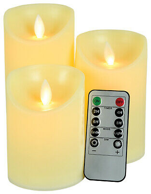 £12.50 • Buy Set Of 3 Dancing Flame LED Candles With Remote Control