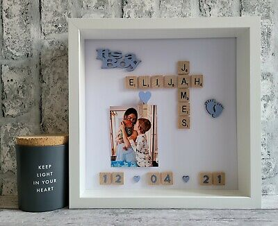 £26 • Buy 2. Scrabble Picture Photo Frame Newborn New Baby Birth Arrival Its A Boy Girl