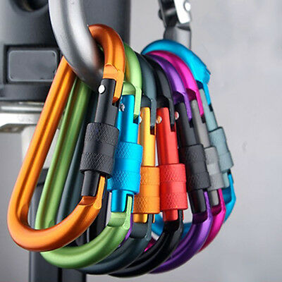 £5.63 • Buy 5x Camping Aluminum D-Ring Screw Locking Carabiner Hook Clip Key Chain TyR Fh
