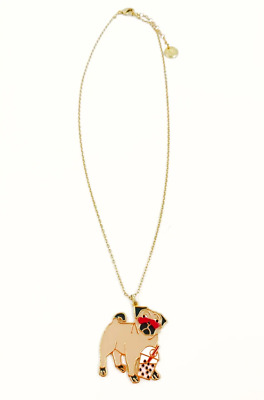£22.95 • Buy Les Nereides N2 Pug With Bubble Shake 14ct Gold Plated Pendant Necklace - NEW