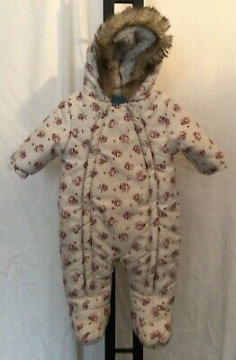 £7 • Buy Baby Girl Floral Hooded Snow Suit 0-3 Months *Free Post*