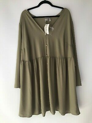 AU29 • Buy ASOS Size 22 Olive Green Long Sleeve Knee Length Loose Fitted Dress BNWT's