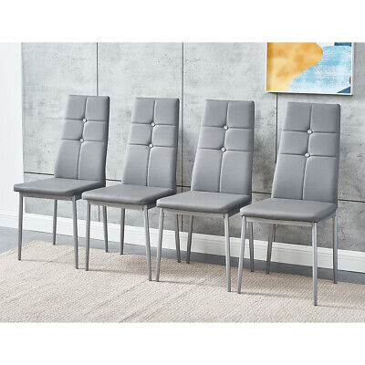 £85.99 • Buy 4 PCS Grey Dining Chairs Set Faux Leather Padded Seat High Back Home Furniture