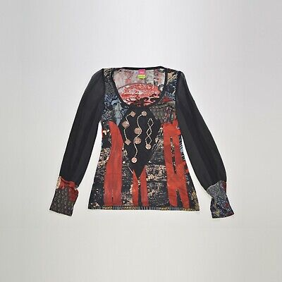 AU46.60 • Buy Wmns Save The Queen Viscose Abstract Pattern Blouse Top Made In Italy Size M