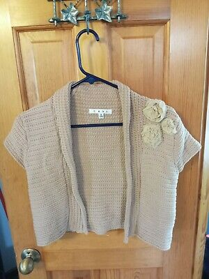 £5.08 • Buy CAbi Size Small Taupe Shrug Sweater Raw Sugar Flower Rosette Open Front Topper