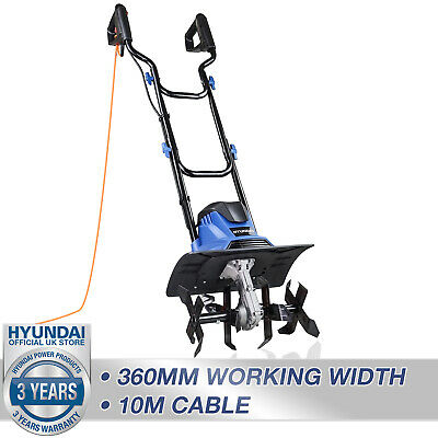 £109.99 • Buy Tiller Rotavator Cultivator Electric Garden Corded 1050W 360mm 10m Cable HYUNDAI