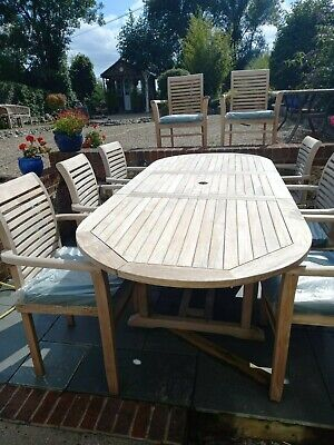 £850 • Buy Teak Garden Furniture 8 Seater Extending Dining Set With Stacking Chairs