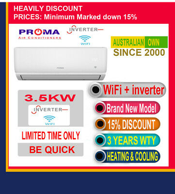 AU595.30 • Buy Split System Reverse Cycle Air Conditioner Heating And Cooling, Wifi, Inverter✔
