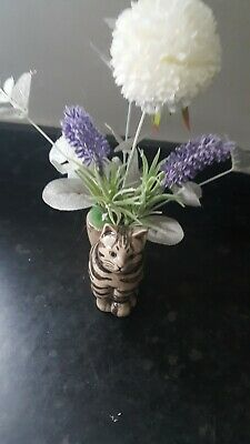 £12.99 • Buy Tabby Cat By Quail Pottery Egg Cup With Faux Flower Decoration Cute