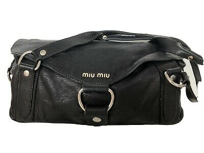 £35 • Buy Miu Mui Black Leather Large Shoulder Bag With Silver Branding And Hardware