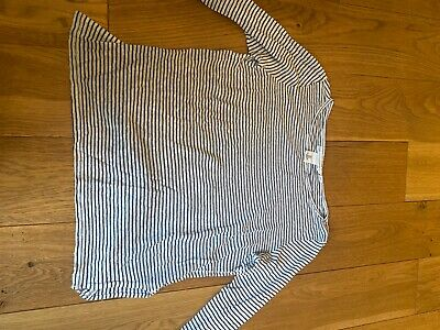 £4.50 • Buy  H&M LOGG BLUE WHITE STRIPED LINEN TOP Size Small