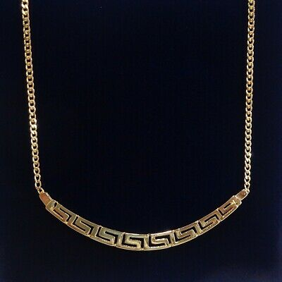 £290 • Buy Fine Greek Key Necklace Yellow Gold - Length 17 Inches (43cm)