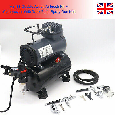 £94.45 • Buy AS186 Double Action Airbrush Kit + Compressor With Tank Paint Spray Gun Nail UK