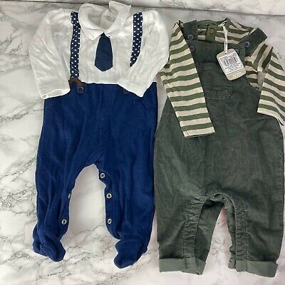 £5.99 • Buy Baby Boy Bundle 3/6 Months Dungerees T Shirt Baby Gro Green Blue White Tie Brace