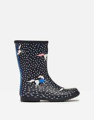 £20.95 • Buy Joules Girls Roll Up Flexible Printed Wellies - Navy Spotty Horses