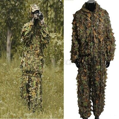 £14.13 • Buy Leaf Ghillie Suit Woodland Camo Camouflage Clothing 3D Jungle Hunting Free Size