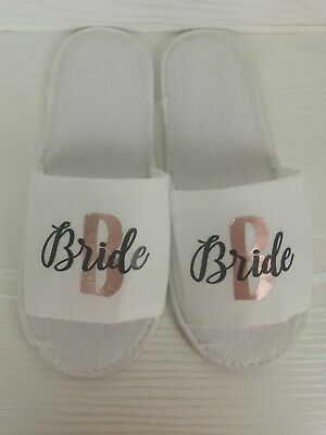 £3.99 • Buy Personalised Bridal Party Spa Slippers Custom Cute Bride To Be Bridesmaid Gifts